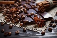 Spices and chocolate Stock Photos
