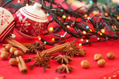 Spices and Christmas decorations in the background Stock Photography