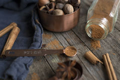 Spices cinnamon anis nuts home Royalty Free Stock Images