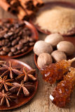 Spices cinnamon anise nutmeg rock sugar coffee Royalty Free Stock Photos