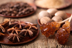 Spices cinnamon anise nutmeg rock sugar coffee Royalty Free Stock Photo