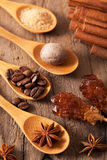 Spices cinnamon anise nutmeg rock sugar coffee Stock Images