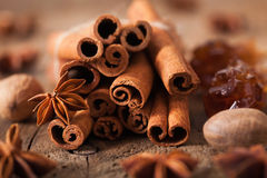 Spices cinnamon anise nutmeg rock sugar royalty free stock images