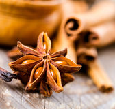 Spices cinnamon and anise Stock Images