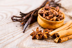 Spices cinnamon and anise Royalty Free Stock Image