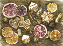 Spices. cinnamon, star anise, homemade cookies. Spice and homemade cookies. Watercolor illustration Royalty Free Stock Images
