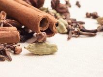 Spices cinnamon sticks anise stars and cloves Royalty Free Stock Photos