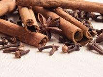 Spices cinnamon sticks anise stars and cloves Stock Photos