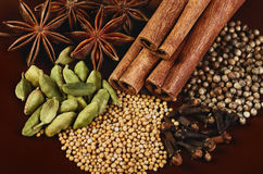 Spices cinnamon sticks, stars anise, cardamom, clove, coriander Stock Photo