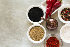 Spices clock. Milling with red hot chili pepper pods peas, salt, paprika, black and green cumin seeds Royalty Free Stock Images