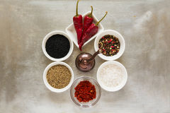 Spices clock. Milling with red hot chili pepper pods peas, salt, paprika, black and green cumin seeds Stock Photography