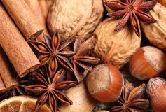 Spices. Close-up of cinnamon sticks, anise, dry orange slice, hazelnuts and walnuts royalty free stock images