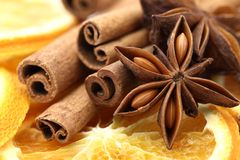 Spices. Close-up of dry orange slices, cinnamon sticks, and anise stars royalty free stock image