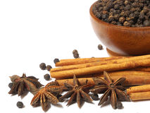 Spices Cloves, Cinnamon sticks and anise stars isolated on white Royalty Free Stock Photos