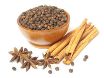Spices Cloves, Cinnamon sticks and anise stars isolated on white Stock Photo