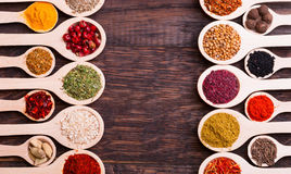 Spices. Collection of various spices in wooden spoons Royalty Free Stock Images
