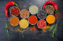 Spices. Colorful spices. Curry, Saffron, turmeric, cinnamon and otheron a dark concrete background. Pepper. Large collection of di Royalty Free Stock Photos