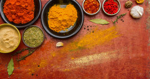 Spices colour for healthy on red wooden background. Spices colour for healthy on red wooden background and design stock images
