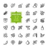Spices, Condiments And Herbs - Minimal Thin Line Web Icon Set. Outline Icons Collection Stock Image
