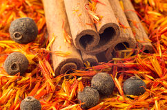 Spices and condiments close-up. Cinnamon, peppercorn and saffron. Selective focus Royalty Free Stock Photography