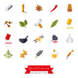 Spices and Condiments Flat Design  Icon Set. Collection of spices, condiments, herbs and seasoning flat design isolated icons Stock Photography