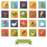 Spices and Condiments Flat Design Square Icon Set. Collection of spices, condiments, herbs and seasoning flat design long shadow square icons Royalty Free Stock Image