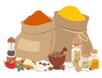 Seasoning food herbs natural healthy spices condiments organic vegetable vector ingredient. Spices condiments and herbs decorative elements and icons. Seeds Royalty Free Stock Photography