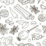 Spices, condiments and herbs decorative elements. Pattern Stock Images