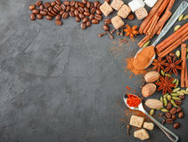 Spices and condiments. Ingredients for desserts and sweet pastries. Cinnamon, star anise, cardamom, cloves, coffee, sugar, saffron and nutmeg. Copy space Stock Photos