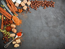 Spices and condiments. Ingredients for desserts and sweet pastries. Cinnamon, star anise, cardamom, cloves, coffee, sugar, saffron and nutmeg. Copy space Royalty Free Stock Photo