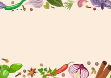 Spices and condiments on light background. Cooking, products. Vector illustration stock illustration