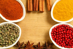 Spices in containers. Colorful frame of spices in  ceramic containers Royalty Free Stock Photo