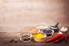 Spices for cooking meat: turmeric, chili pepper, barberry Stock Photos
