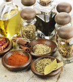 Spices Cooking Oil And Vinegar Stock Photography