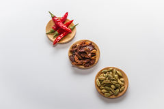 Spices for cooking. Various spices to cook a variety of flavors, cardamom, chilli Stock Photos