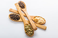 Spices for cooking. Various spices to cook a variety of flavors,� garlic, black pepper, cloves, cardamom Royalty Free Stock Images