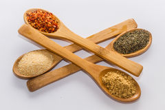 Spices for cooking. Various spices to cook a variety of flavors, ginger, chili, garlic, thyme Royalty Free Stock Photo