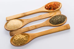 Spices for cooking. Various spices to cook a variety of flavors, ginger, chili, garlic, thyme Stock Photo