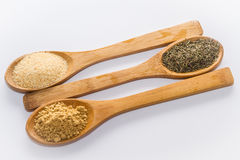 Spices for cooking. Various spices to cook a variety of flavors, ginger, chili, garlic, thyme Royalty Free Stock Photos