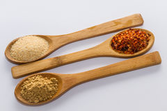 Spices for cooking. Various spices to cook a variety of flavors, ginger, chili, garlic, thyme Stock Photos