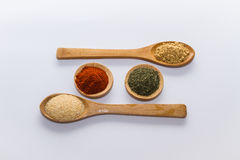 Spices for cooking. Various spices to cook a variety of flavors, ginger, chili, garlic, thyme, dill, fenugreek, red peppers, nutmeg Stock Photos
