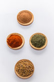 Spices for cooking. Various spices to cook a variety of flavors, ginger, chili, garlic, thyme, dill, fenugreek, red peppers, nutmeg Stock Images