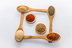 Spices for cooking. Various spices to cook a variety of flavors, ginger, chili, garlic, thyme, fenugreek, red peppers Royalty Free Stock Photos
