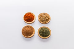 Spices for cooking. Various spices to cook a variety of flavors,Red peppers, nutmeg, dill, fenugreek Stock Photos