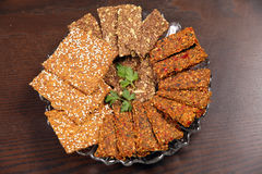 Spices crackers grain breads on table Stock Photo