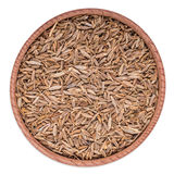 Spices, cumin seeds, zira in a wooden bowl Stock Images