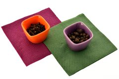Spices in cups on napkins Royalty Free Stock Photography