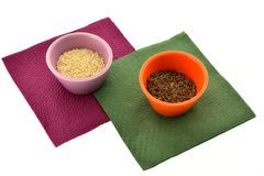 Spices in cups on napkins Stock Photo