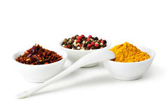 Spices Curry, Peppers Mix and paprika Stock Image