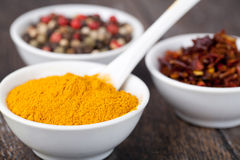 Spices Curry, Peppers Mix and paprika Royalty Free Stock Image